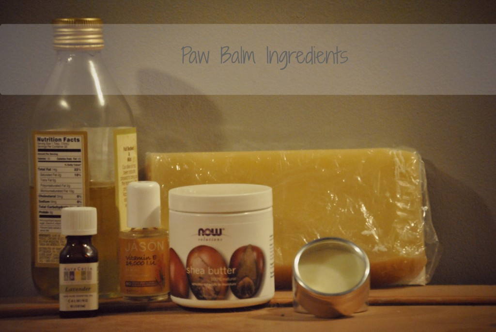 Homemade paw balm ingredients
