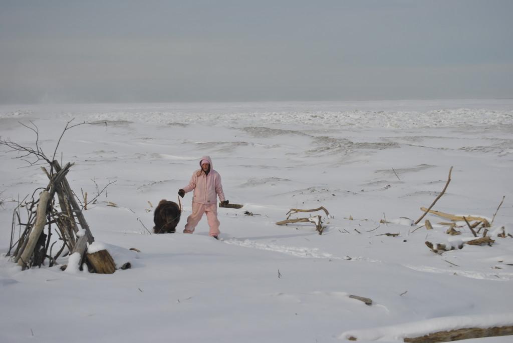 walking on frozen lake erie