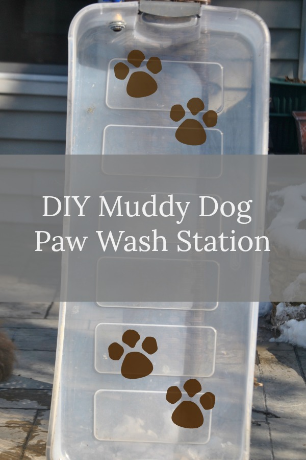DIY Muddy Paw Wash Station. An easy way to clean muddy dogs is to use a plastic container with a drain and teach them to walk through it. This will work well on removing snowballs and ice balls from dog paws in the winter too