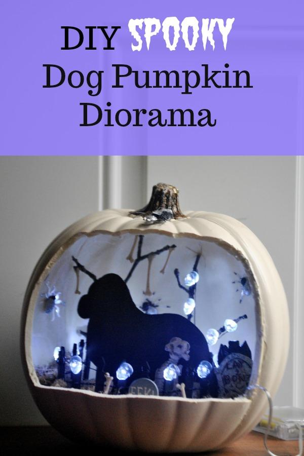 spooky dog halloween themed diorama