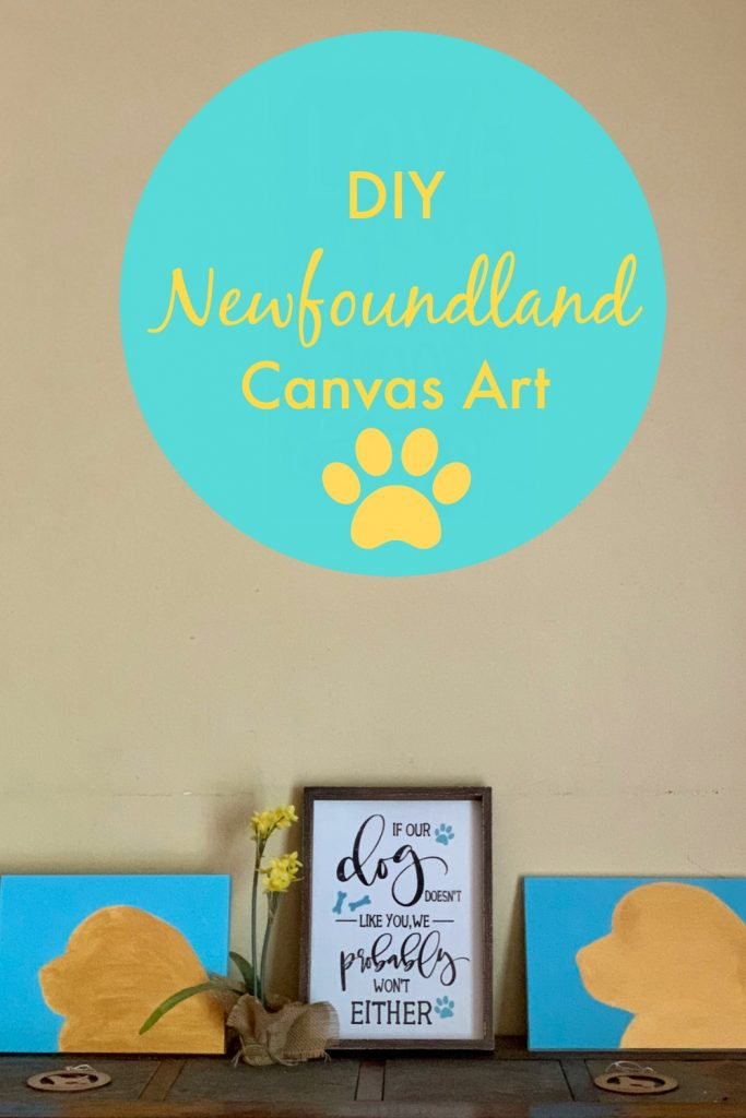 Make an easy canvas art out of a picture of your dog. Simply choose a favorite side profile picture of your Newfie and turn it into a beautiful Newfoundland dog silhoutte to hang in your home