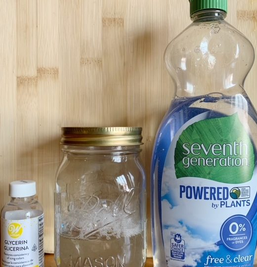 vegetable glycerin and dish soap for dog safe bubbles